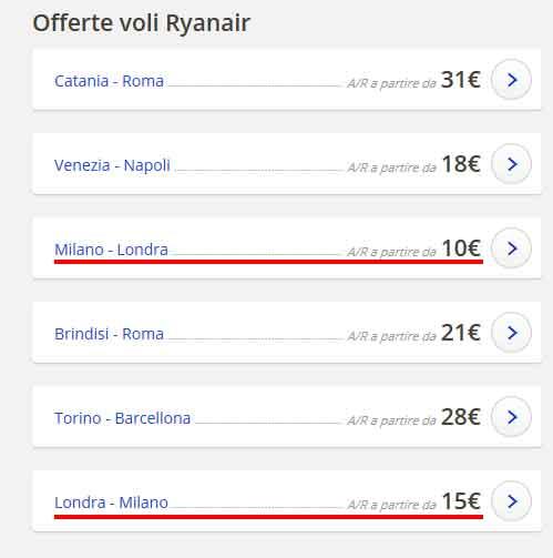 Coupon codice sconto Ryanair 10 euro