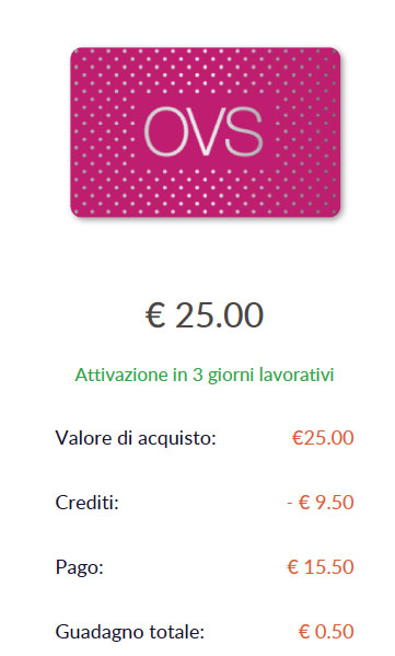 Sconti OVS card regalo